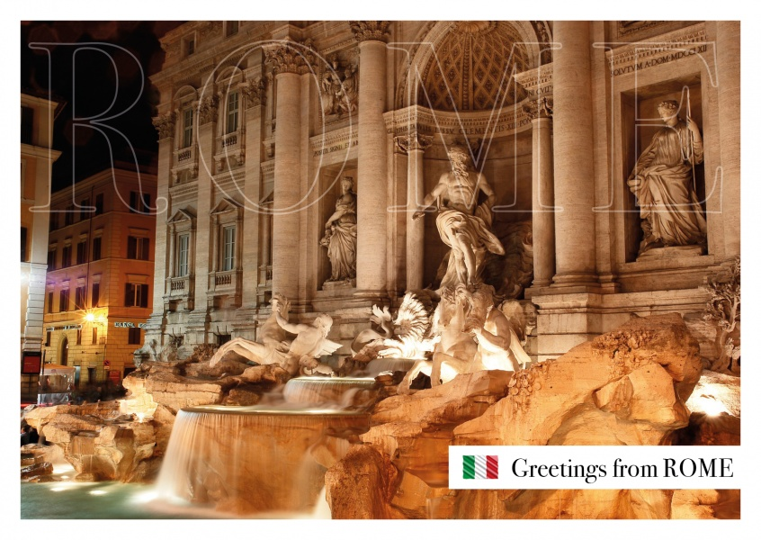 Photo Rome Trevi Fountain by night