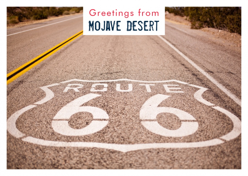 route 66 highway postcard Mojave Desert