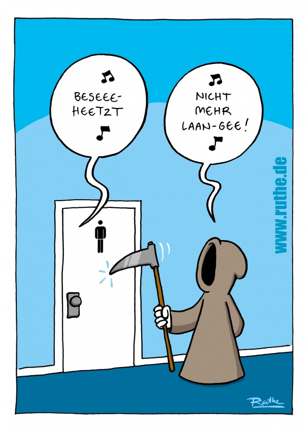 Ruthe Cartoons, Senemann klopft an Toilette