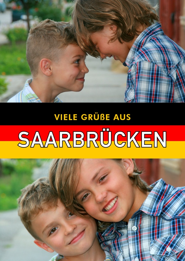 Saarbrücken greetings in German flag design