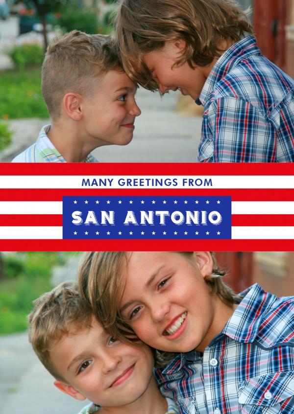 San Antonio greetings in US Flag design
