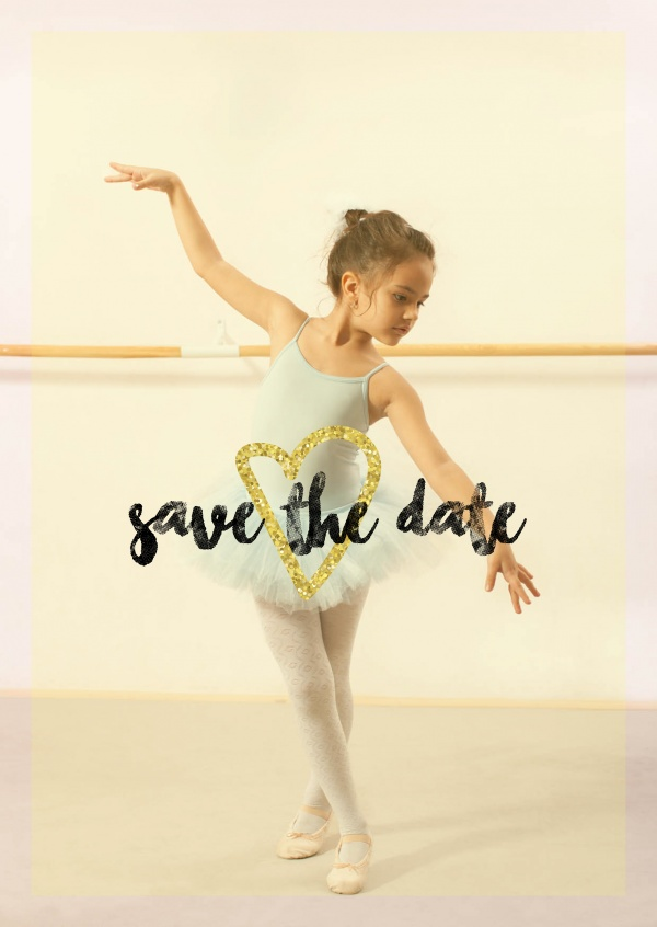 Save the date calligraphy with gold heart on yellow filter photo template