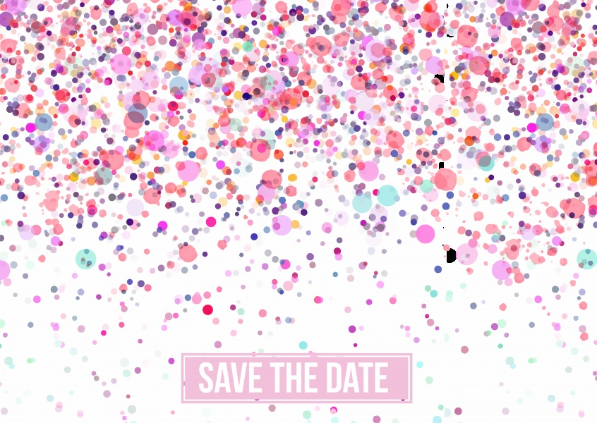 save the date card with pink dots