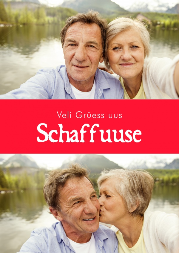 Schaffhausen greetings in swiss-german dialect red white