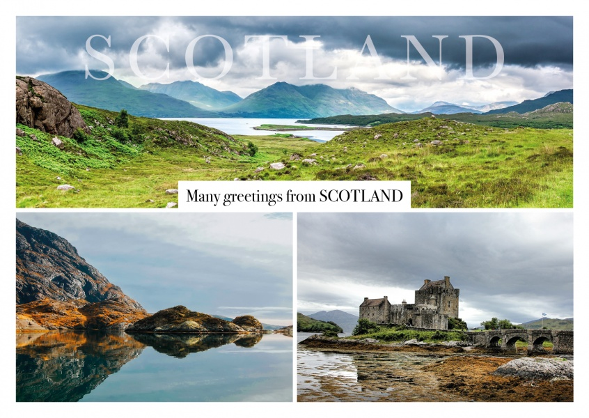 schottland collage postkarte