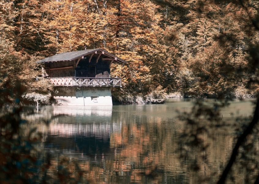 James Graf photo cabin by a lake in the woods