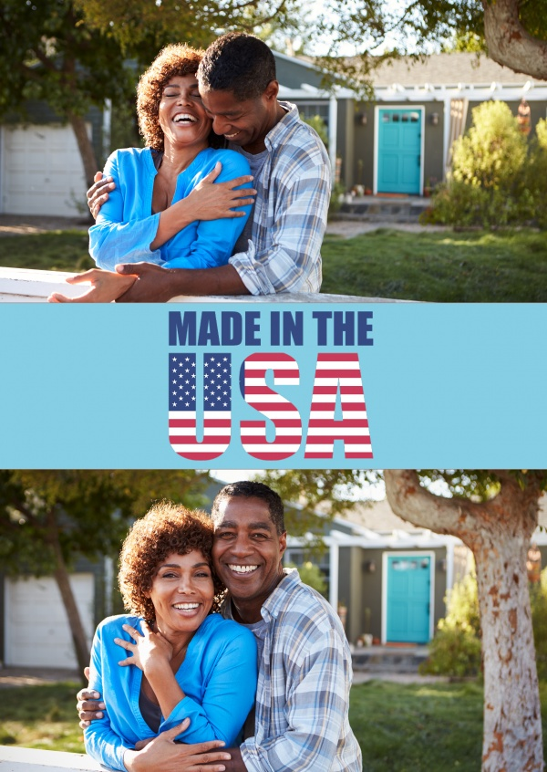 made in the USA stars and stripes on lightblue