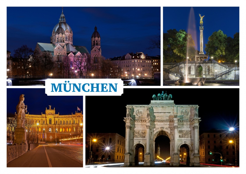 photo collage various pictures of Munich by night