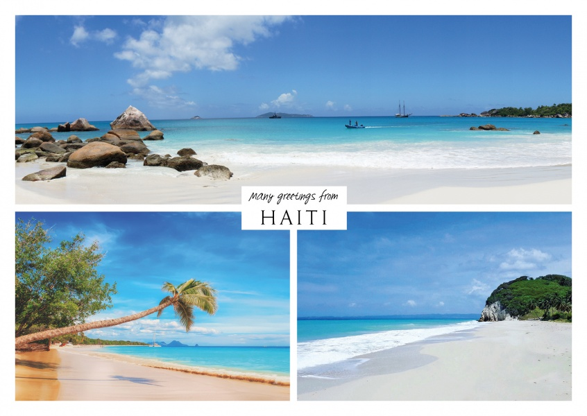 Three photos of caribbean island haiti with palms, beach and ocean