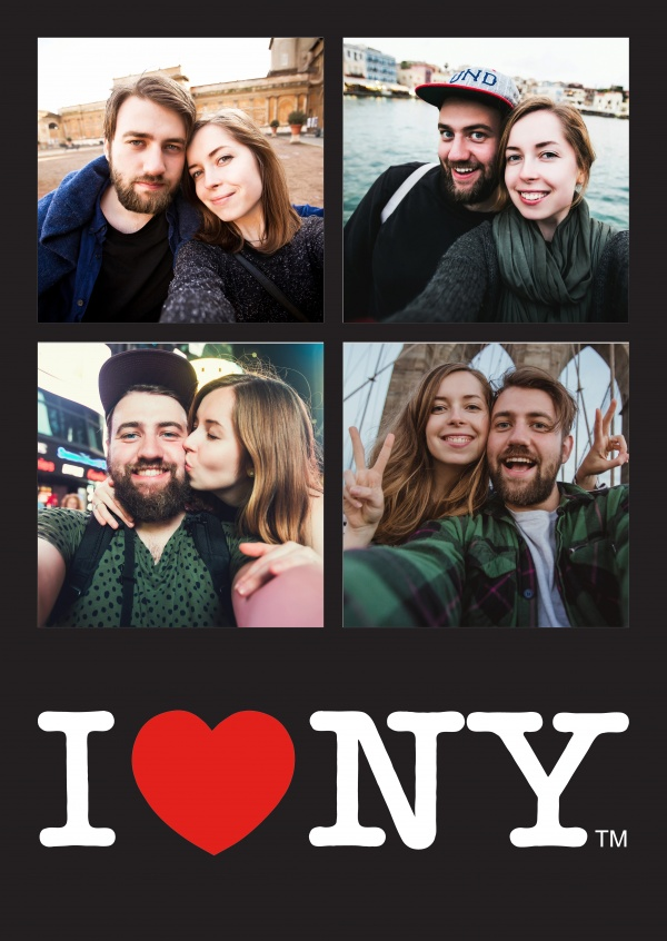 I Love NY - Black Four Picture Template