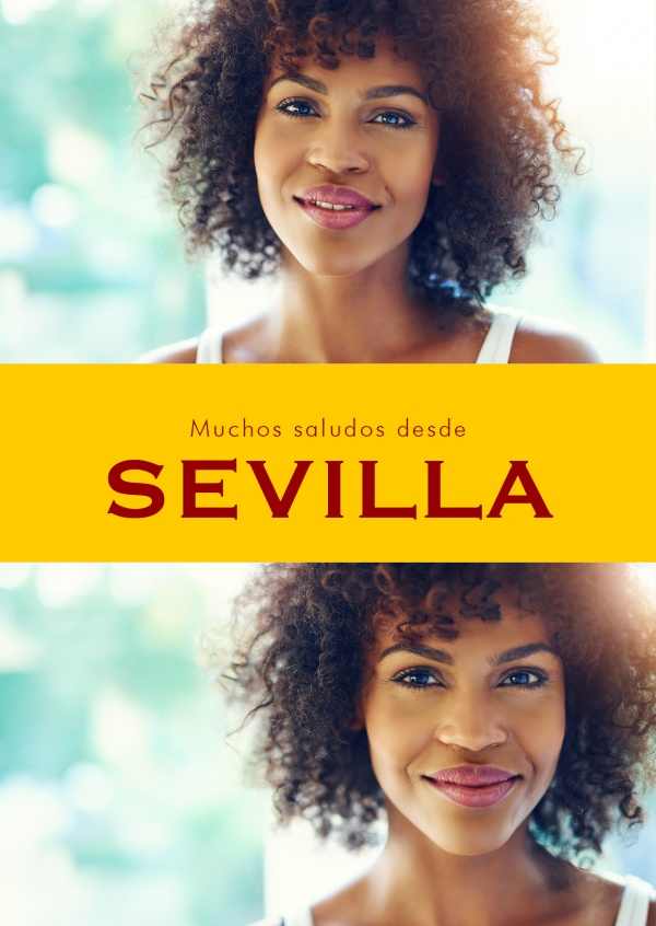 Seville Spanish greetings in country-typical colouring & fonts