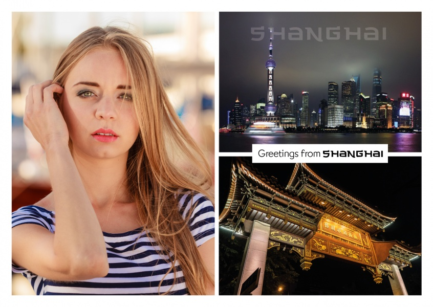 Shanghai photocollage by night