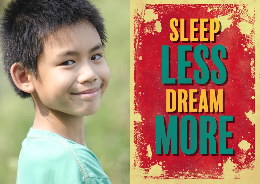 Vintage quote card: Sleep less dream more