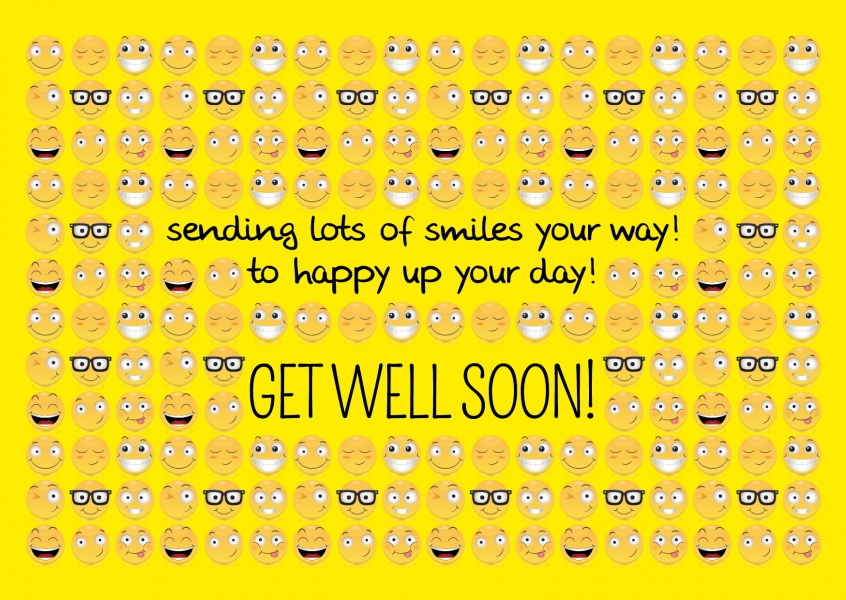 smileys postcard motive yellow