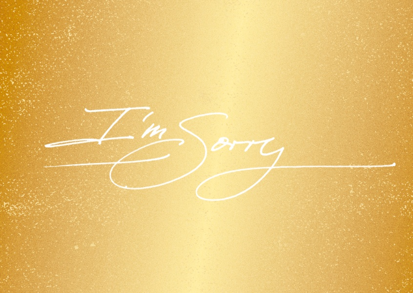 i`m sorry in white thin handwriting on golden baackground