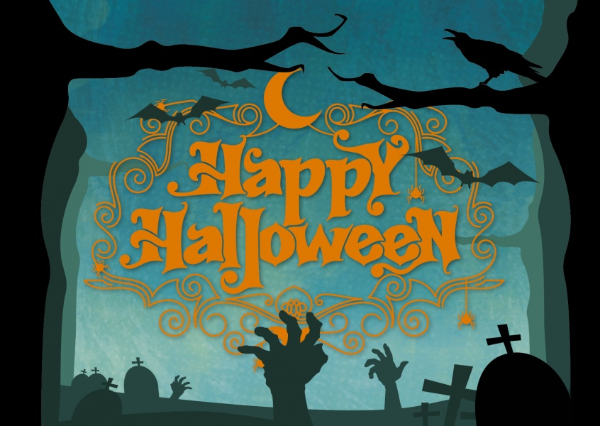 Happy halloween card with graveyard