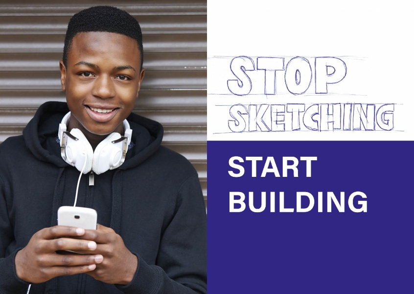 Spruch Stop sketching start building