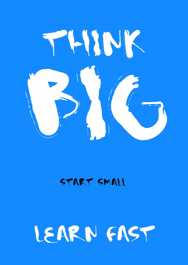 Spruch Think big start small learn fast