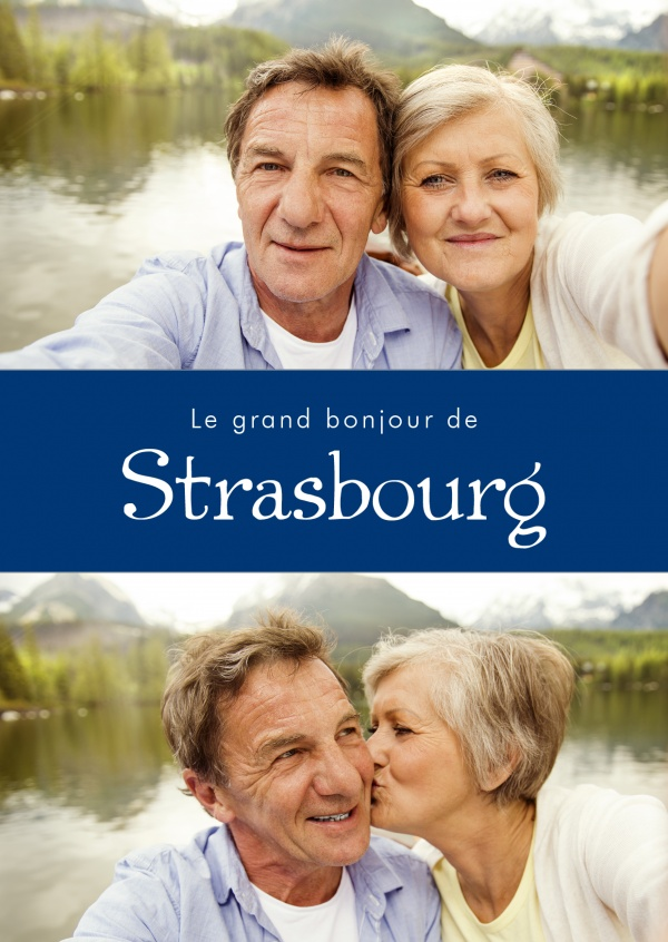 Strasbourg greetings in French language blue white