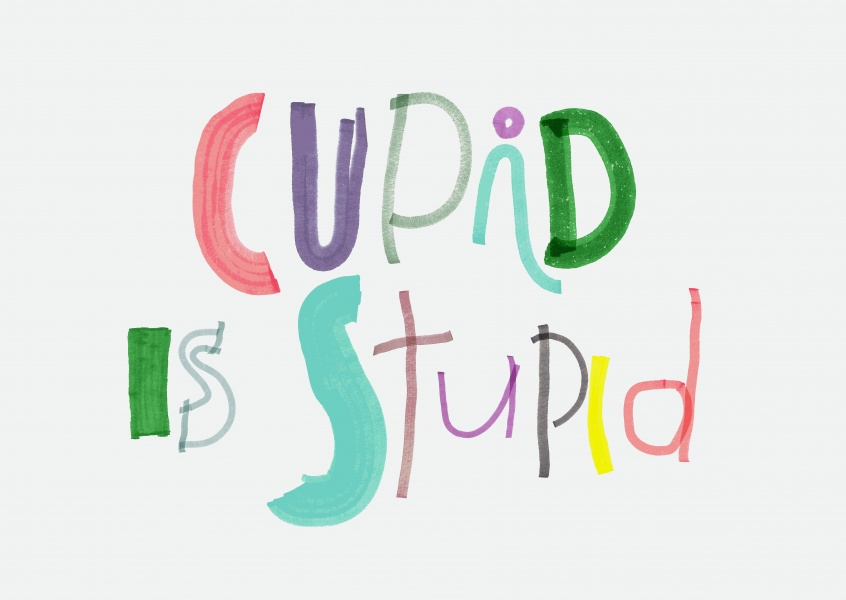 Cupid is stupid. Kid's handwriting