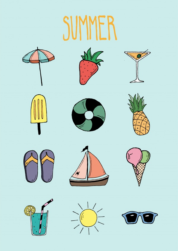greetingcard with twelve illustrations from the summer