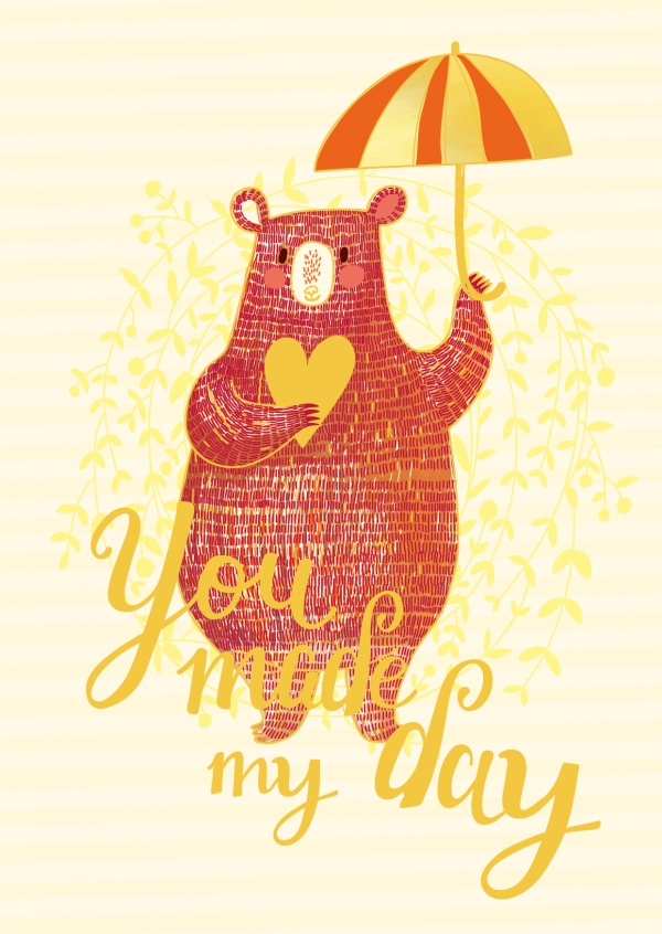 sweet bear you made my day postcard yellow red
