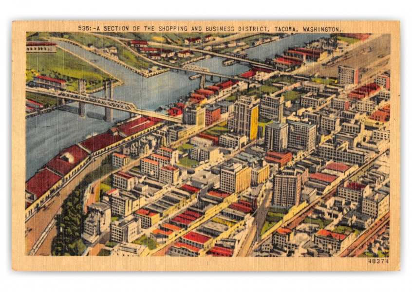 Tacoma, Washington, Business district aerial view