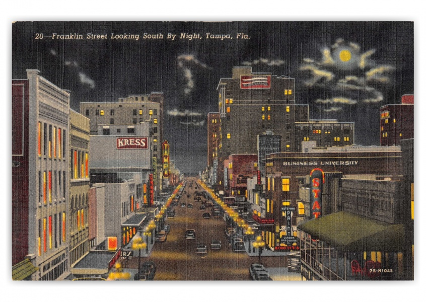 Tampa, Florida, Frankline street looking south at night