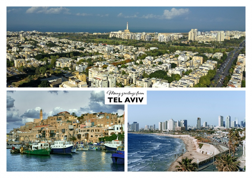 Three photos of tel aviv with city, boats and beach