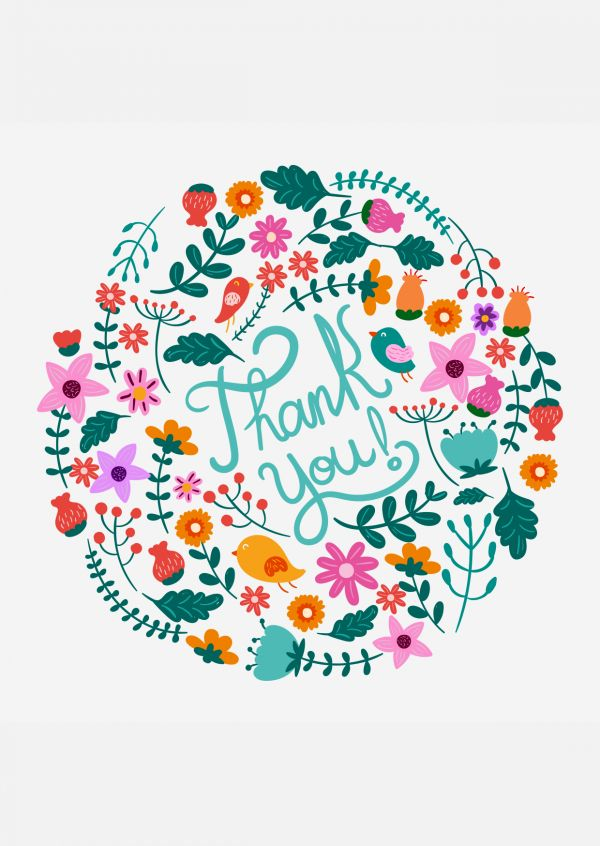 thank you postcard with colorful flowers