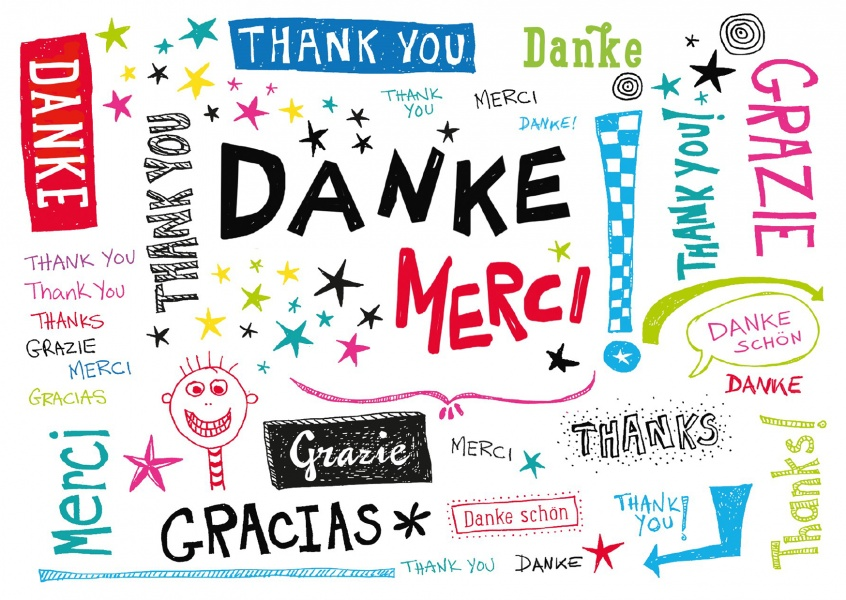thank you postcard danke merci grazie different languages handdrawn sketch