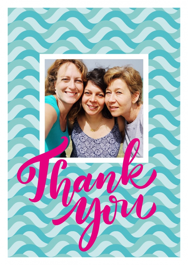 thank you in pink lettering on turquoise wave-pattern