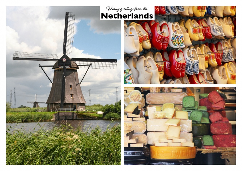 Netherland photo collage of a windmill, wood shoes and dutch cheese