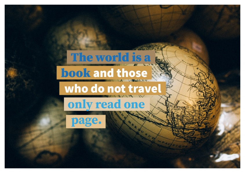 Postkarte Spruch The world is a book and those who do not travel only read one page