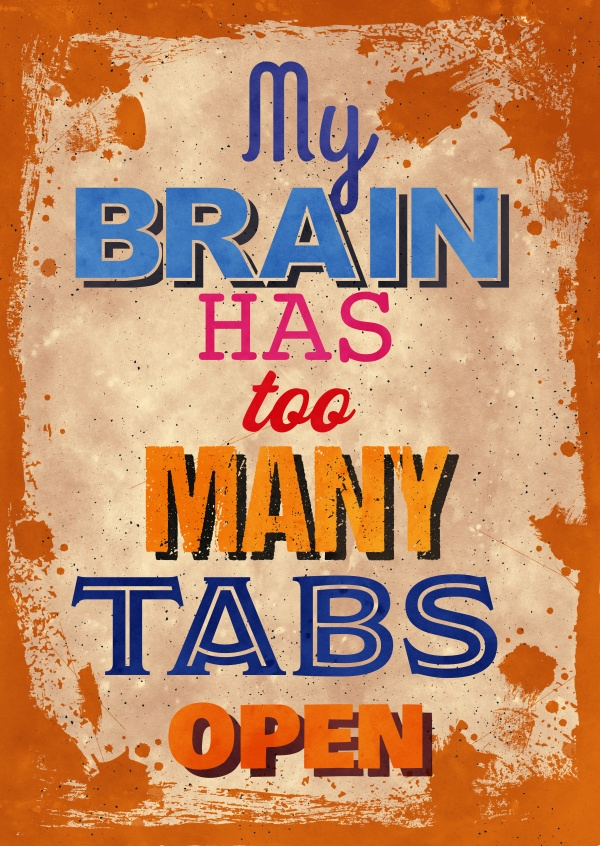 Vintage Spruch Postkarte: My brain has too many tabs open