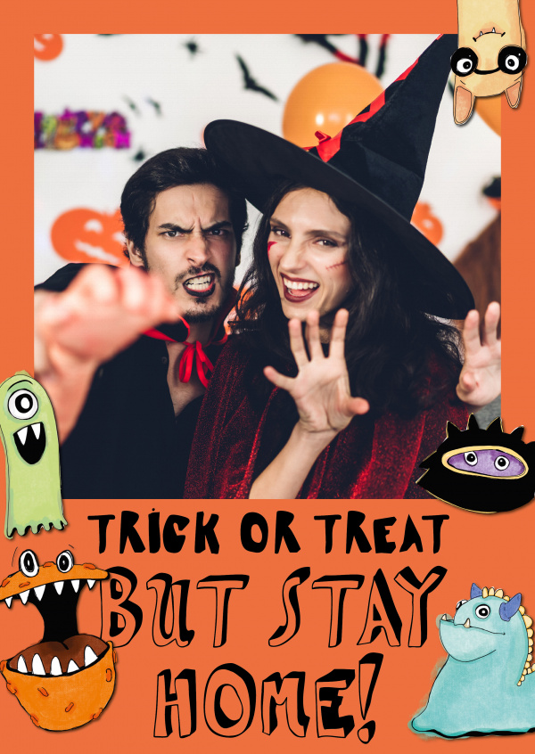 Postkarte Trick or treat but stay home