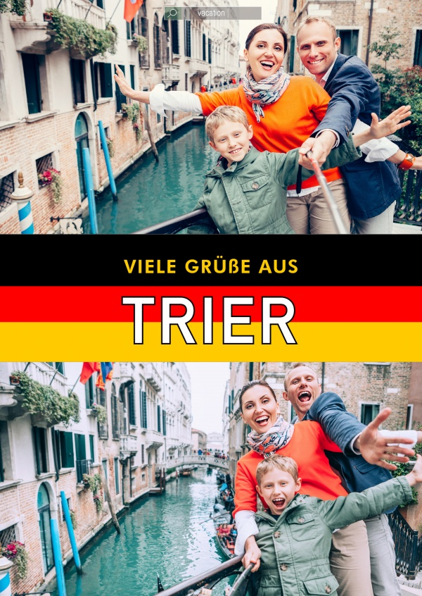 Trier greetings in German flag design