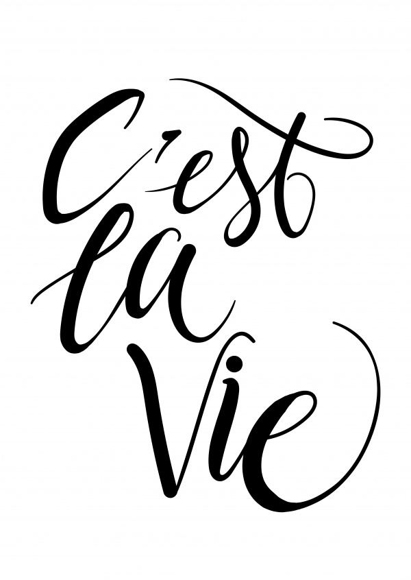 C'est la vie in black handwriting–mypostcard