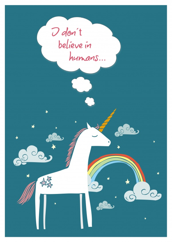 illustration of a little unicorn with rainbow on bluegreen background