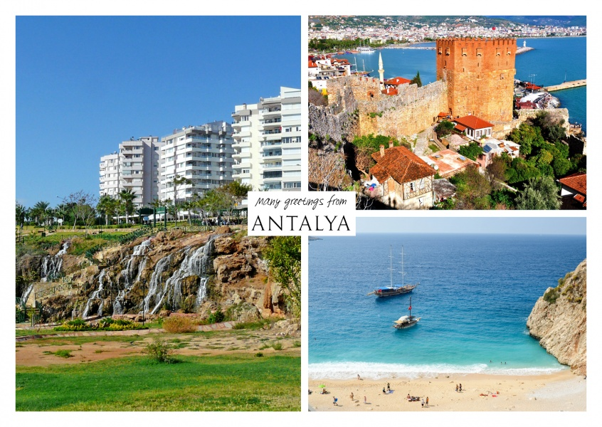 Dreier collage mit fotos aus antalya meer boot wasserfall