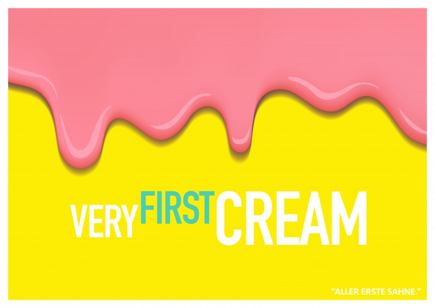 Lustiger Denglisch-Spruch very first cream in rosa und gelb–mypostcard