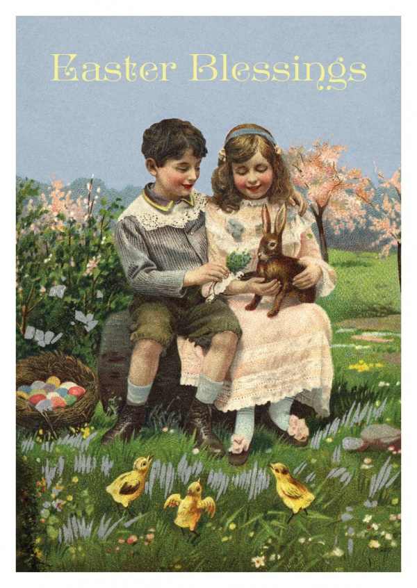 Victorian easter greetings blessings easter blessings in traditional victorian age vintage stylemypostcard m4hsunfo
