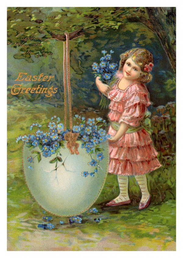 Easter greeting card in traditional, victorian age illustration style–mypostcard