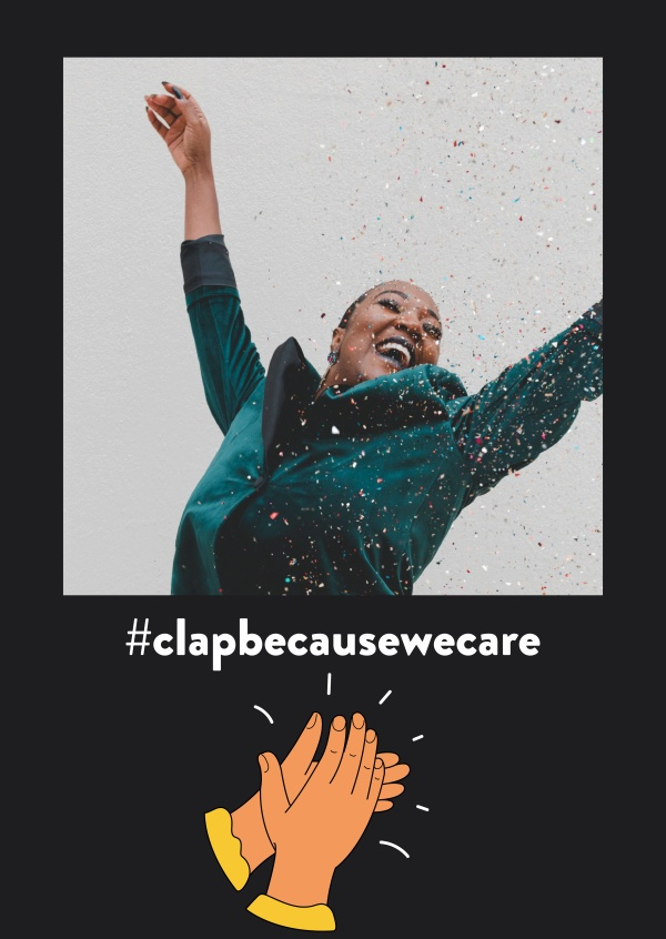 #clapbecausewecare vykort