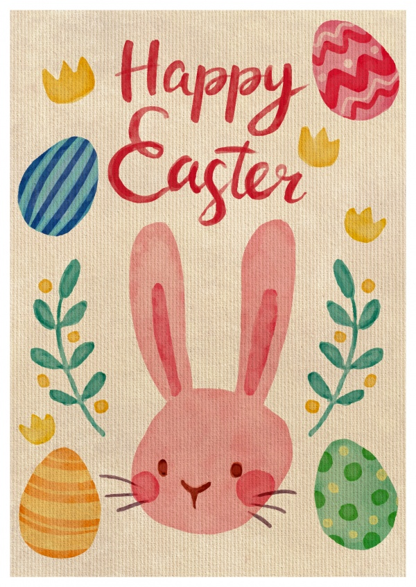 card with watercolor bunny and colorful eggs
