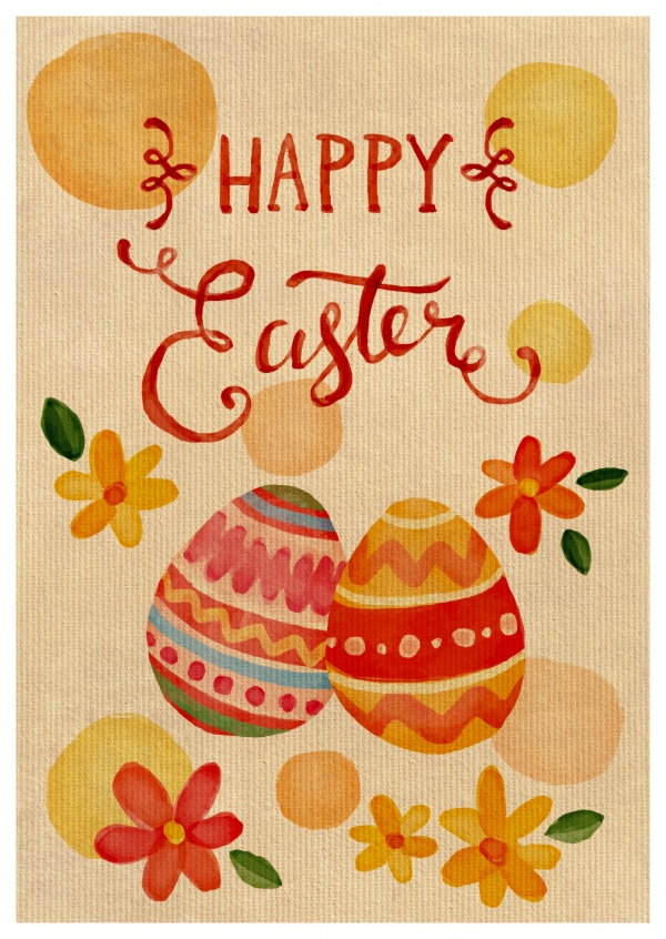 Card with watercolor eggs
