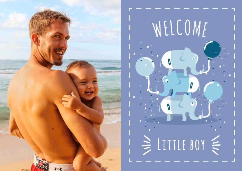 Welcome little boy- Lettering with elephant-pyramid