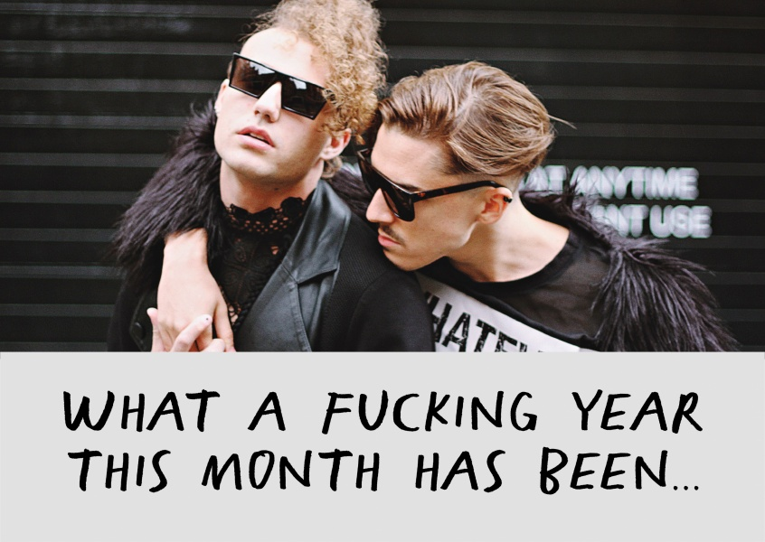 What a fucking month this month has been, black text on grey background