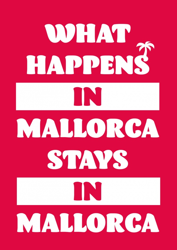 white lettering on red ground with palm tree
