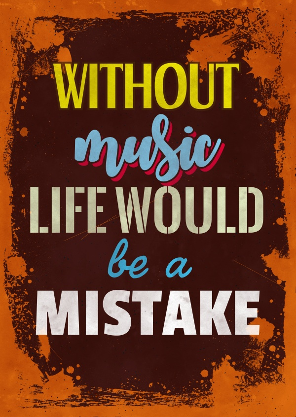 Vintage Spruch Postkarte: Without music life would be a mistake